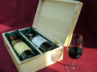 Mixed wooden gift box with wine