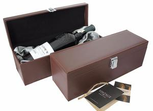 Single Bottle Dark Mocha Leather Effect Gift Box with Silk Liner