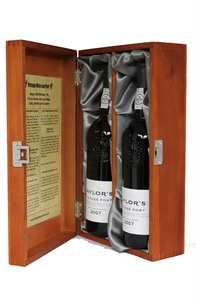 Two Bottle Stained Wooden Gift Box